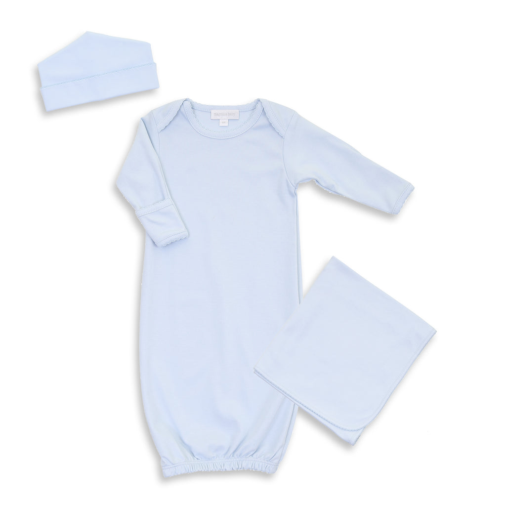 Magnolia Baby Blue Lap Shoulder Gown + Hat + Blanket - Personalization Available