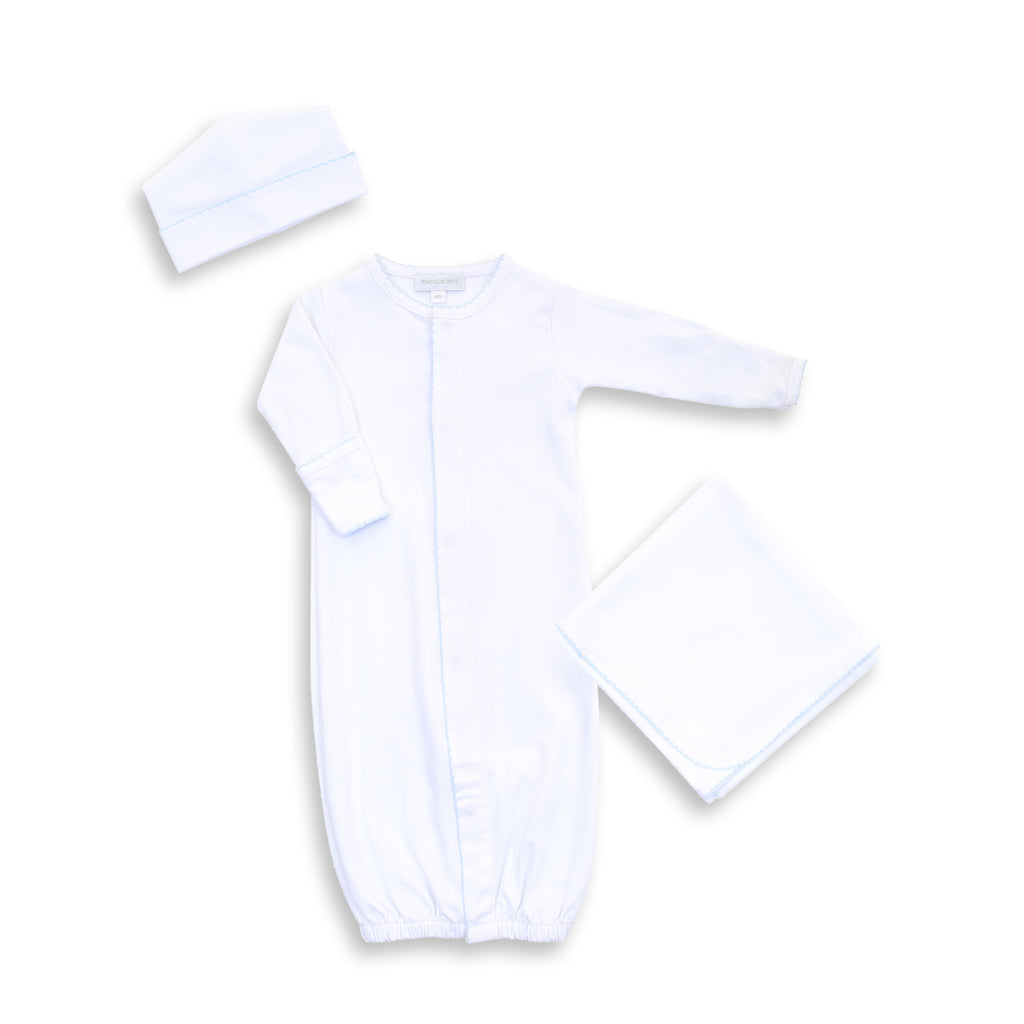 Magnolia Baby White with Blue Trim Converter + Hat + Blanket - Personalization Available