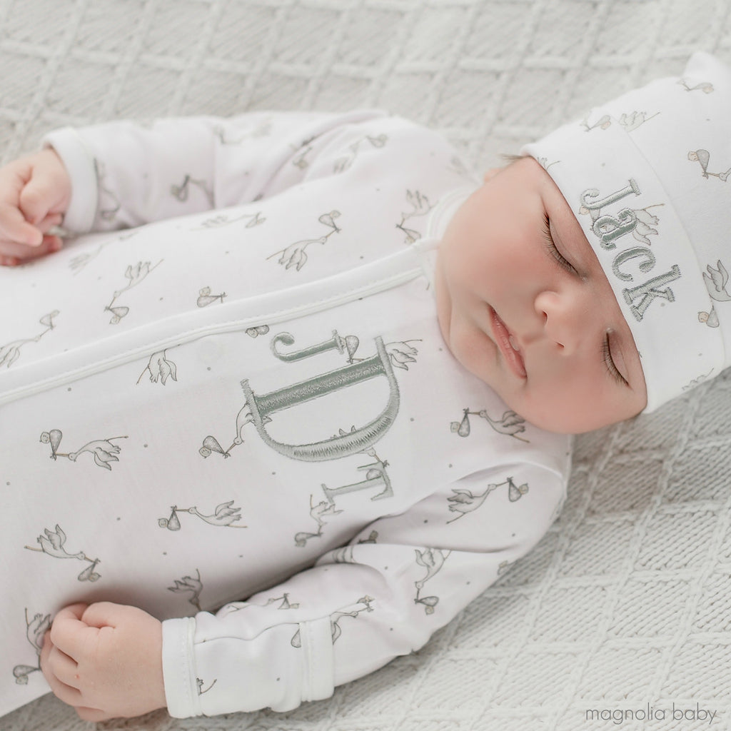Magnolia Baby Grey Print Worth The Wait Footie + Hat Set - Personalization Available