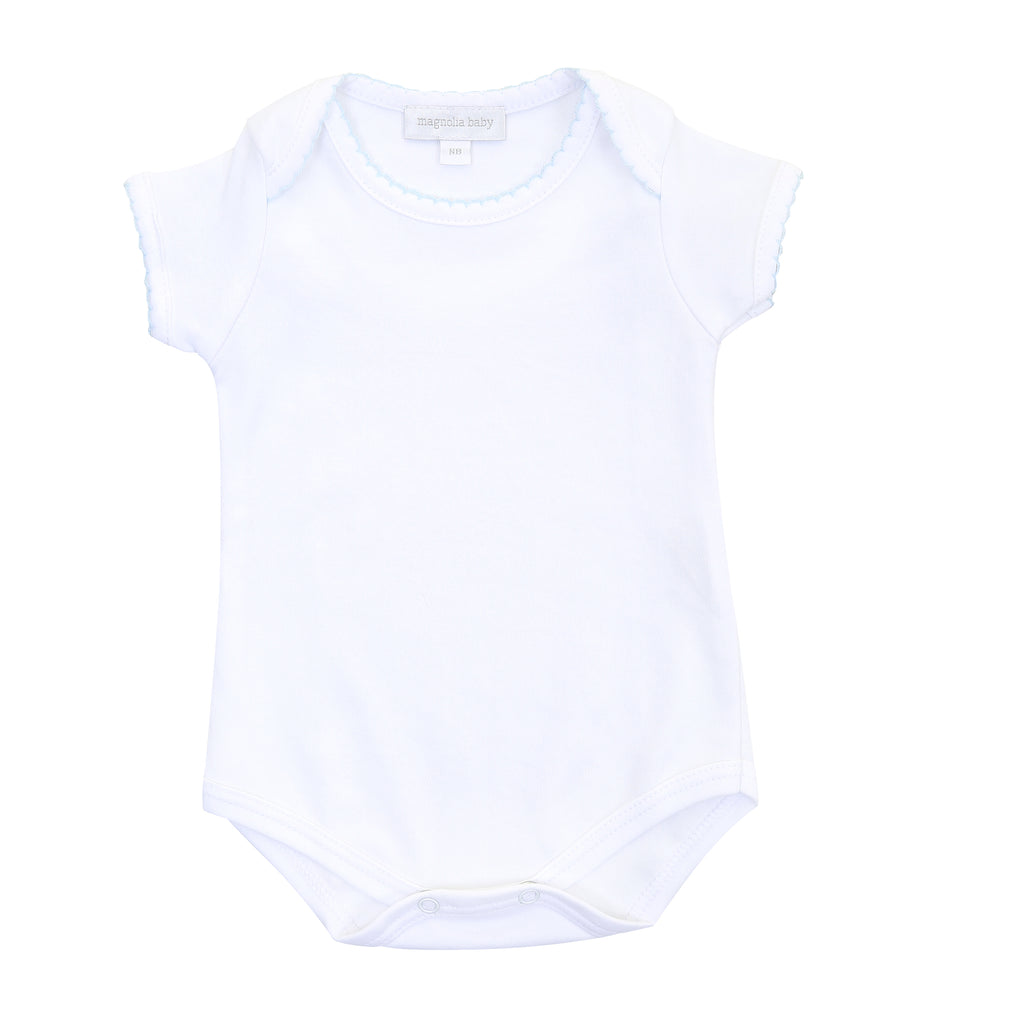 Magnolia Baby Essentials White Short Sleeve Bodysuit - Personalization Available