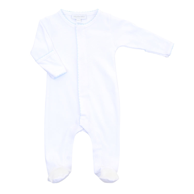 Magnolia Baby Essentials White with Blue Trim Footie - Personalization Available