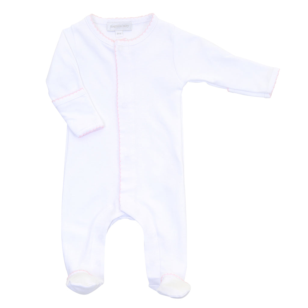 Magnolia Baby Essentials White with Pink Trim Footie - Personalization Available