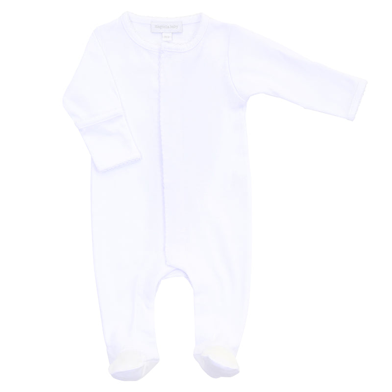 Magnolia Baby Essentials White Footie - Personalization Available