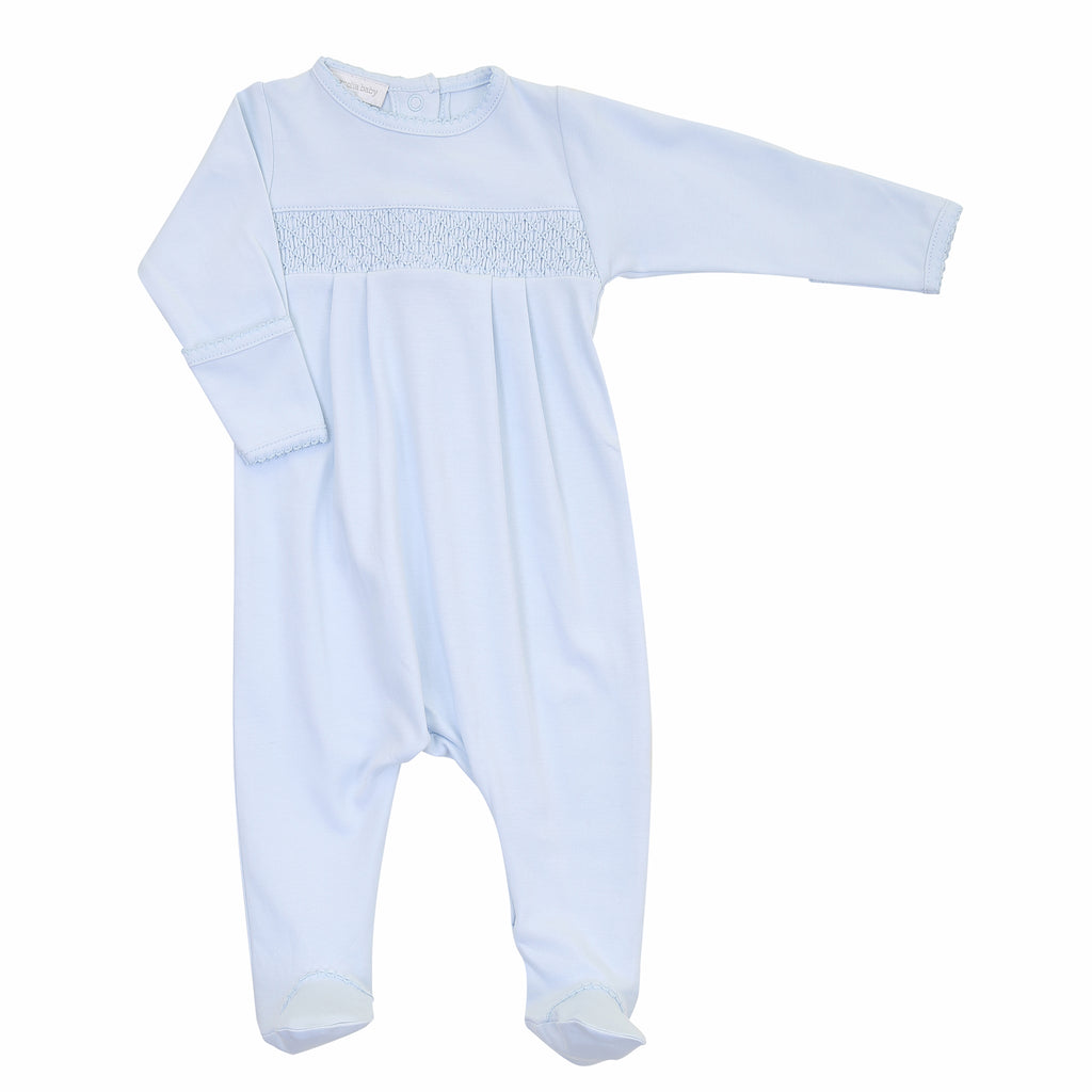 Magnolia Baby Essentials Blue Smocked Footie