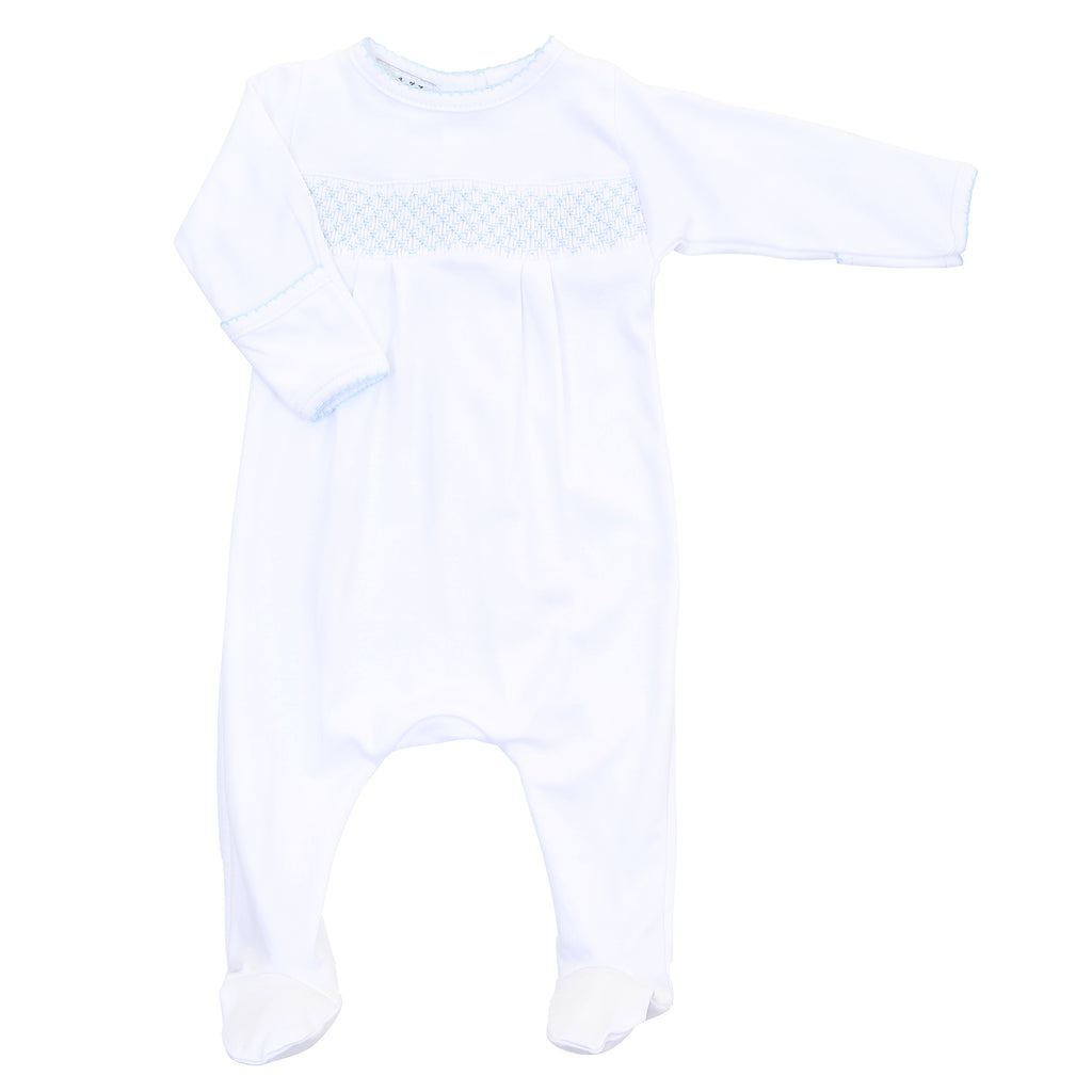 Magnolia Baby Essentials White with Blue Smocked Footie