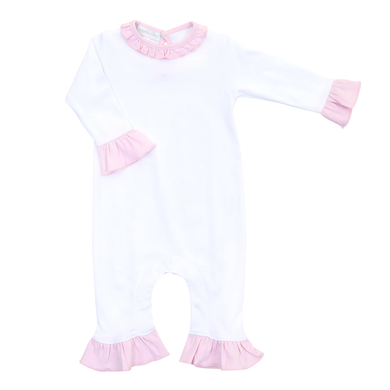 Magnolia Baby Essentials White with Solid Pink Trim Ruffle Playsuit - Personalization Available