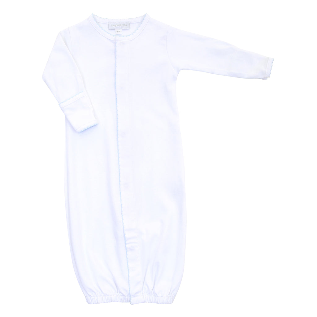Magnolia Baby Essentials White with Blue Trim Converter Gown - Personalization Available