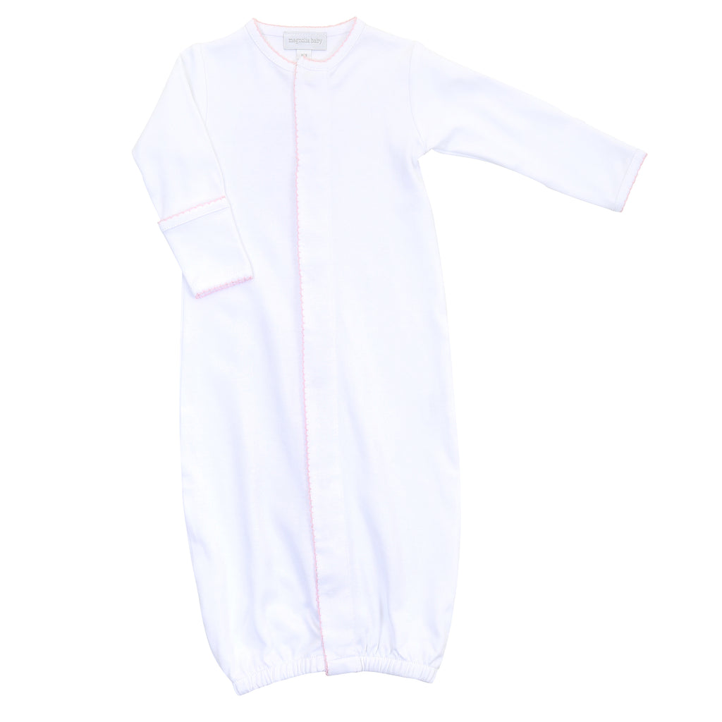Magnolia Baby Essentials White with Pink Trim Converter Gown - Personalization Available
