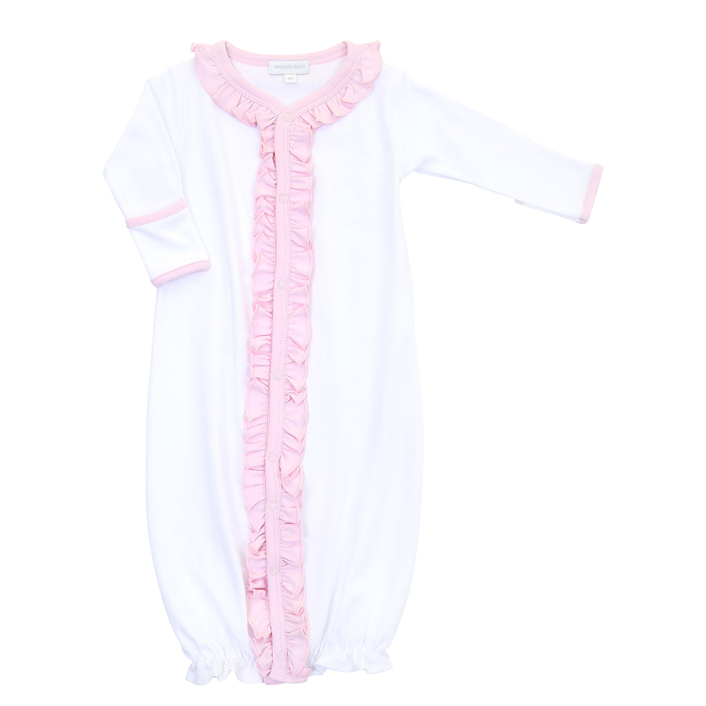 Magnolia Baby Essentials White with Solid Pink Ruffle Converter Gown - Personalization Available