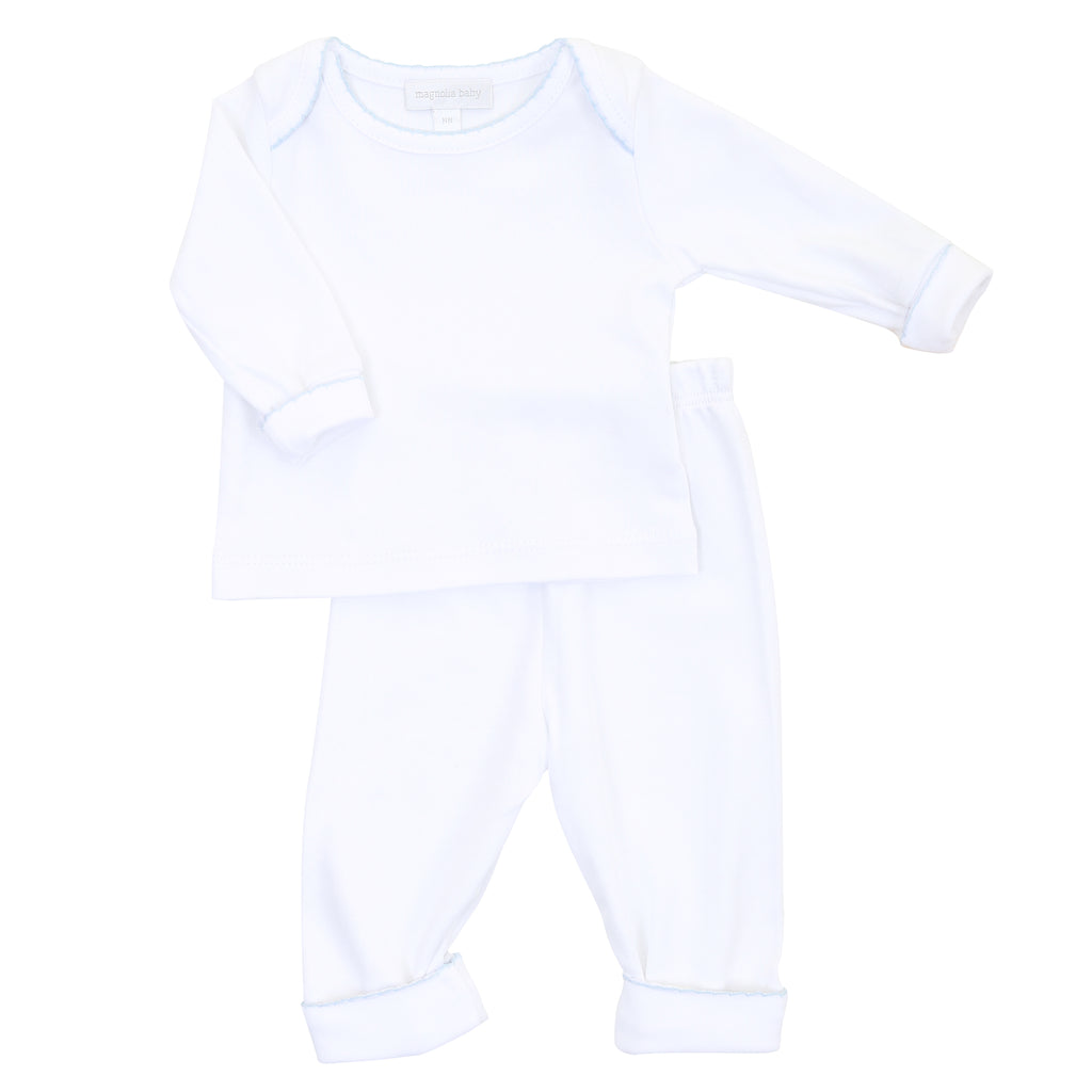 Magnolia Baby Essentials White with Blue Trim Loungewear Set - Personalization Available