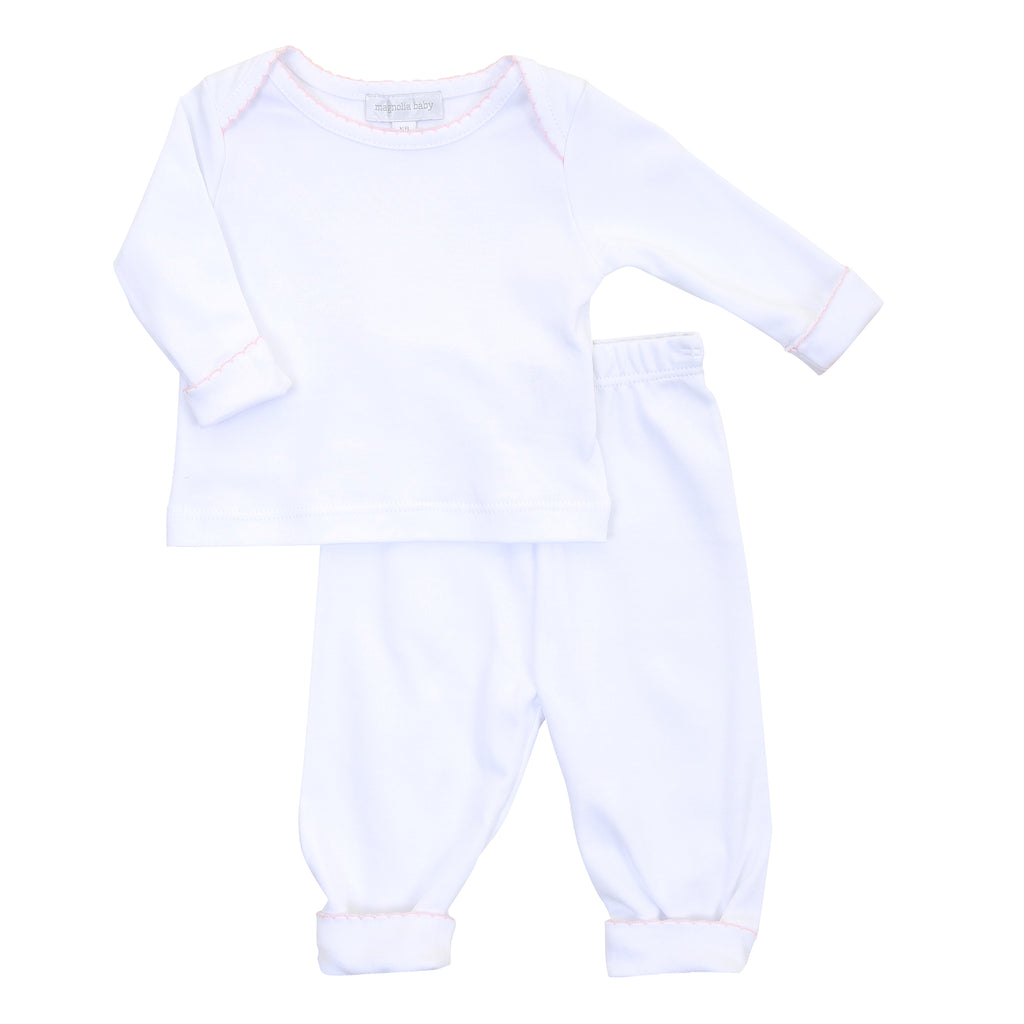 Magnolia Baby Essentials White with Pink Trim Loungewear Set - Personalization Available