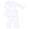 Magnolia Baby Essentials White with Pink Trim Ruffled Pants Set - Personalization Available