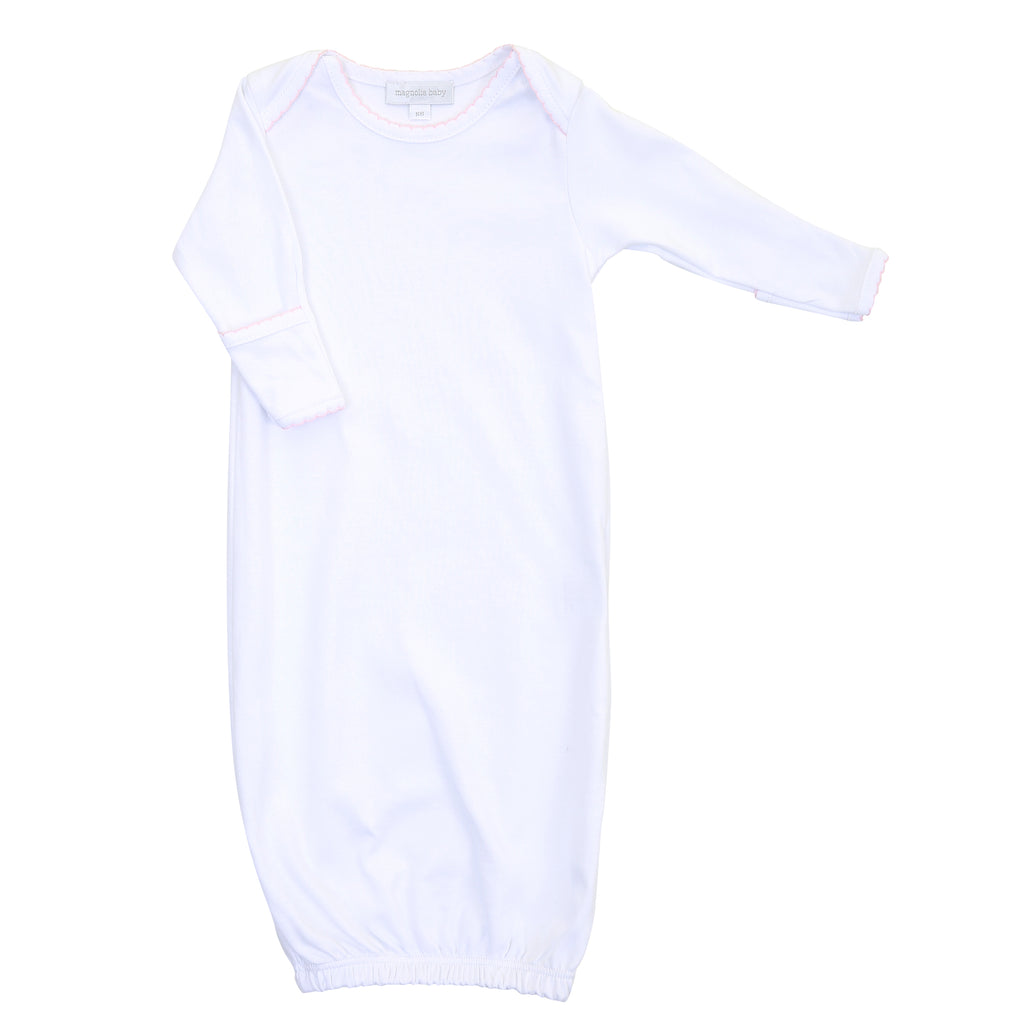 Magnolia Baby Essentials White with Pink Trim Lap Shoulder Gown - Personalization Available