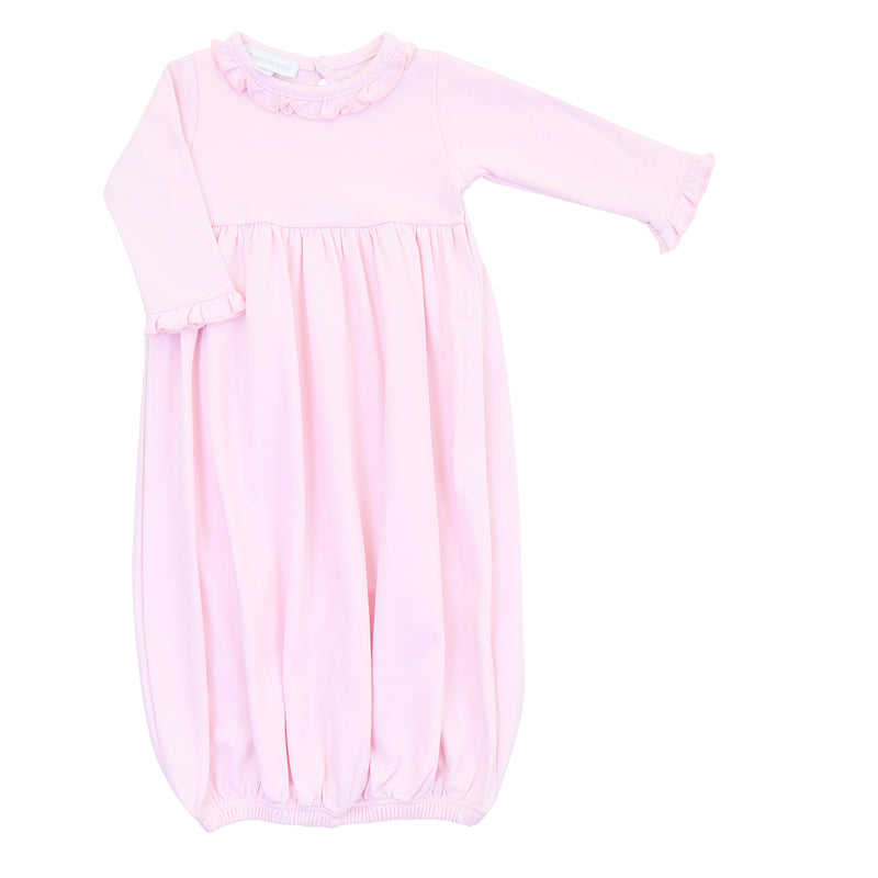 Magnolia Baby Essentials Pink Ruffled Gathered Gown - Personalization Available