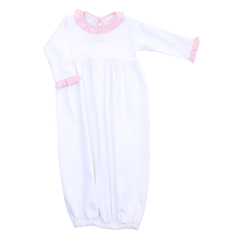 Magnolia Baby Essentials White with Solid Pink Trim Ruffle Gown - Personalization Available
