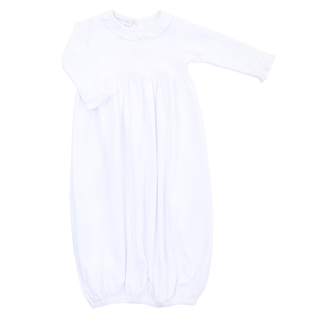 Magnolia Baby Essentials White Ruffled Gathered Gown - Personalization Available