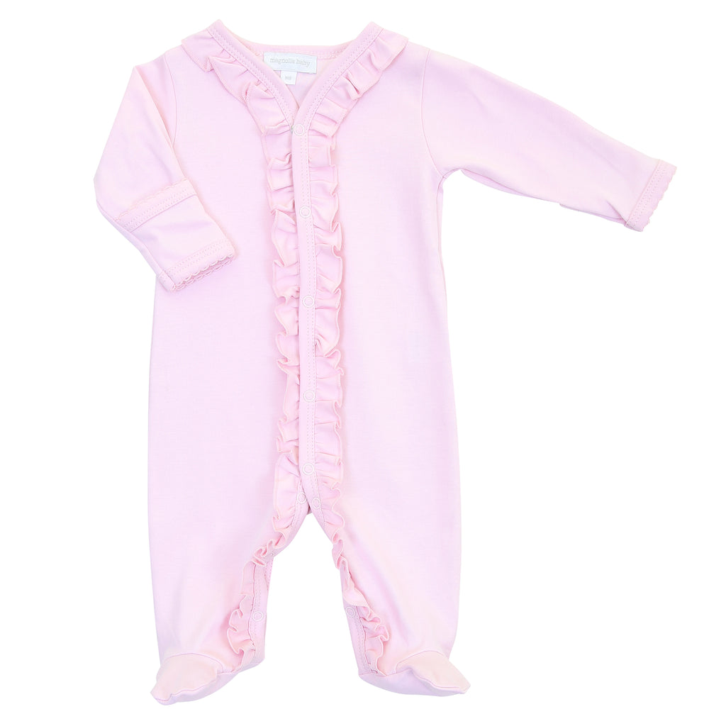 Magnolia Baby Essentials Pink Ruffle Footie - Personalization Available