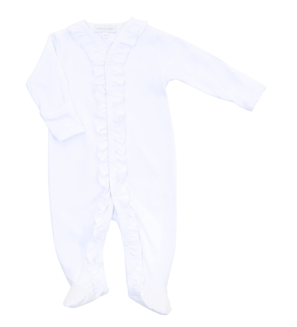 Magnolia Baby Essentials White Ruffle Footie - Personalization Available