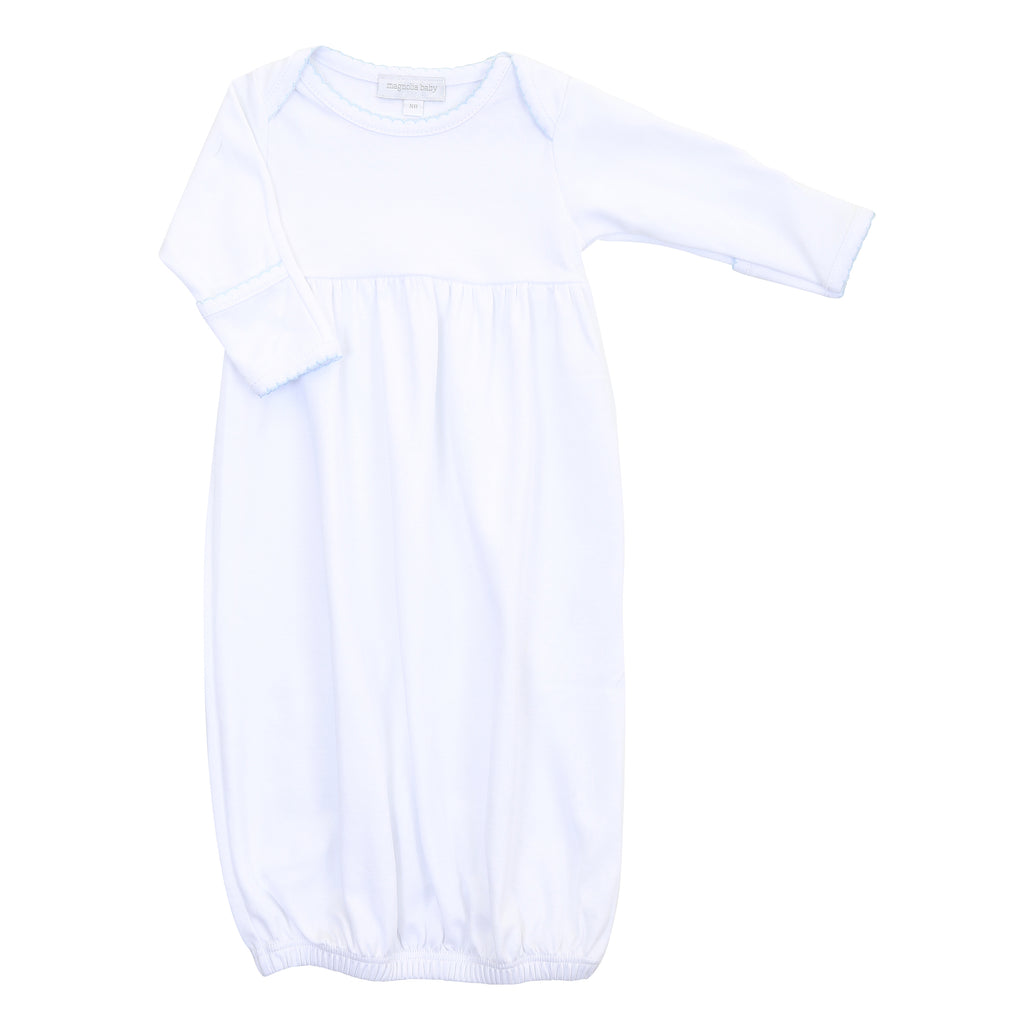 Magnolia Baby Essentials White with Blue Trim Pleated Gown - Personalization Available