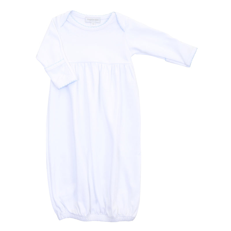 Magnolia Baby Essentials White with Blue Trim Gown - Personalization Available