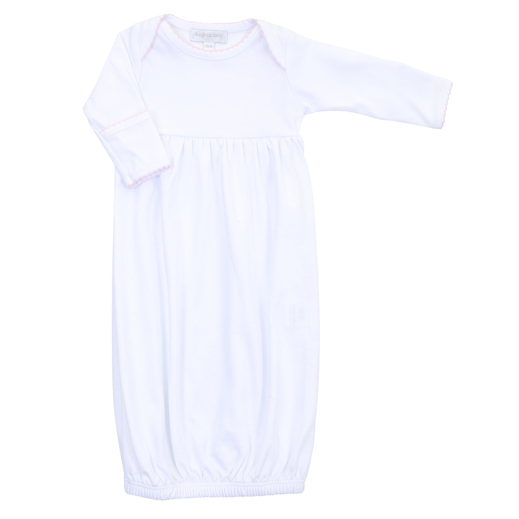 Magnolia Baby Essentials White with Pink Trim Gathered  Gown - Personalization Available