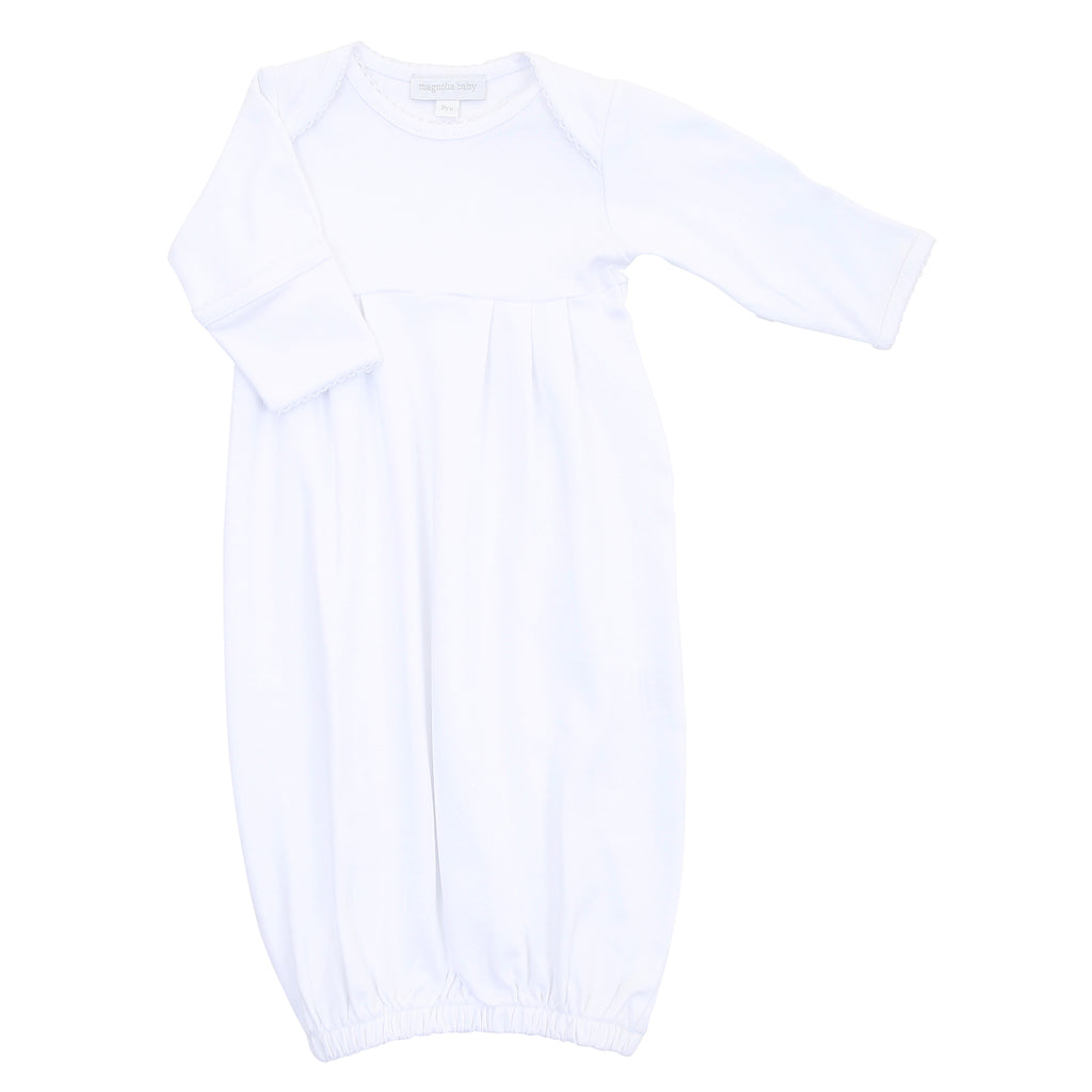 Magnolia Baby Essentials White Gathered Gown - Personalization Available