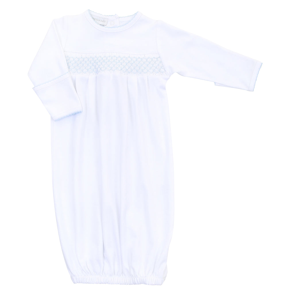 Magnolia Baby Essentials White with Blue Trim Smocked Gown - Monogram Available