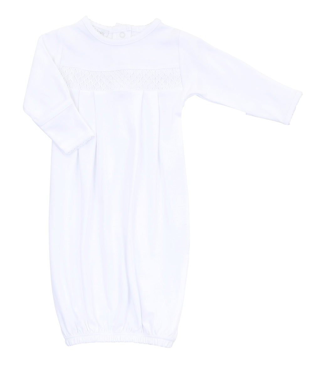 Magnolia Baby Essentials White Smocked Gown - Personalization Available