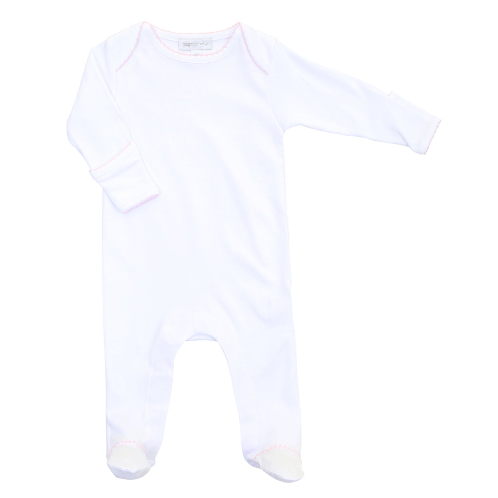 Magnolia Baby Essentials White with Pink Trim Lap Shoulder Footie - Personalization Available