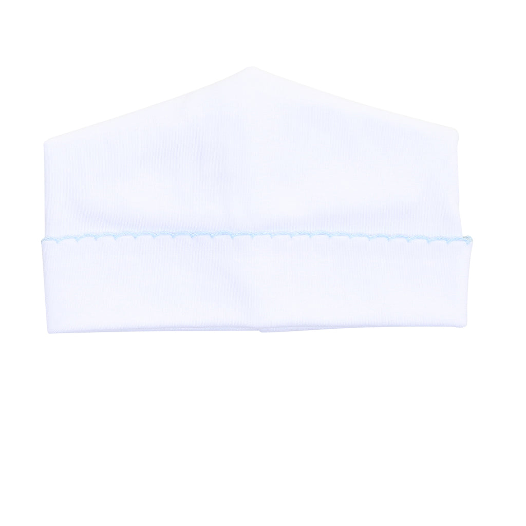 Magnolia Baby Essentials White with Blue Trim Hat - Personalization Available