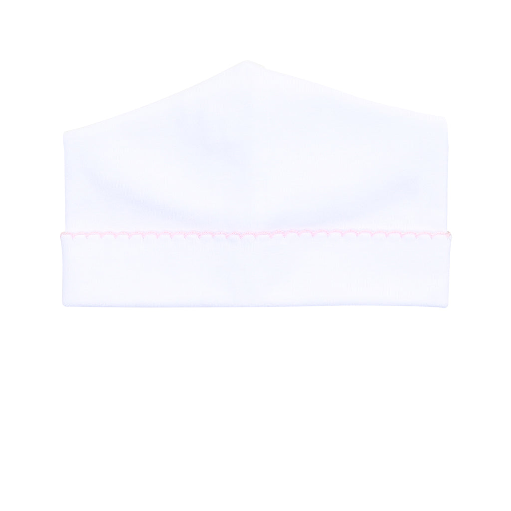 Magnolia Baby Essentials White with Pink Trim Hat - Personalization Available