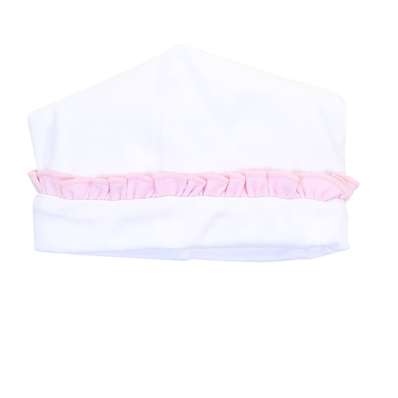 Magnolia Baby Essentials White with Solid Pink Ruffle Hat - Personalization Available