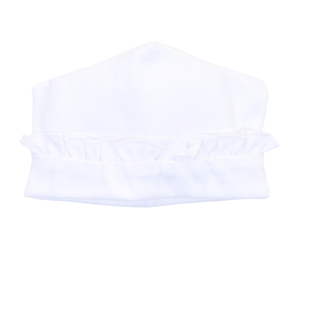 Magnolia Baby Essentials White Ruffle Hat - Personalization Available