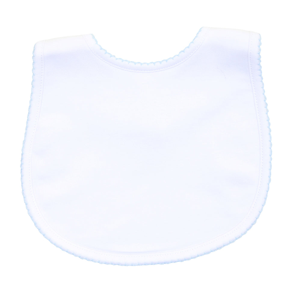 Magnolia Baby Essentials White with Blue Trim Bib - Personalization Available