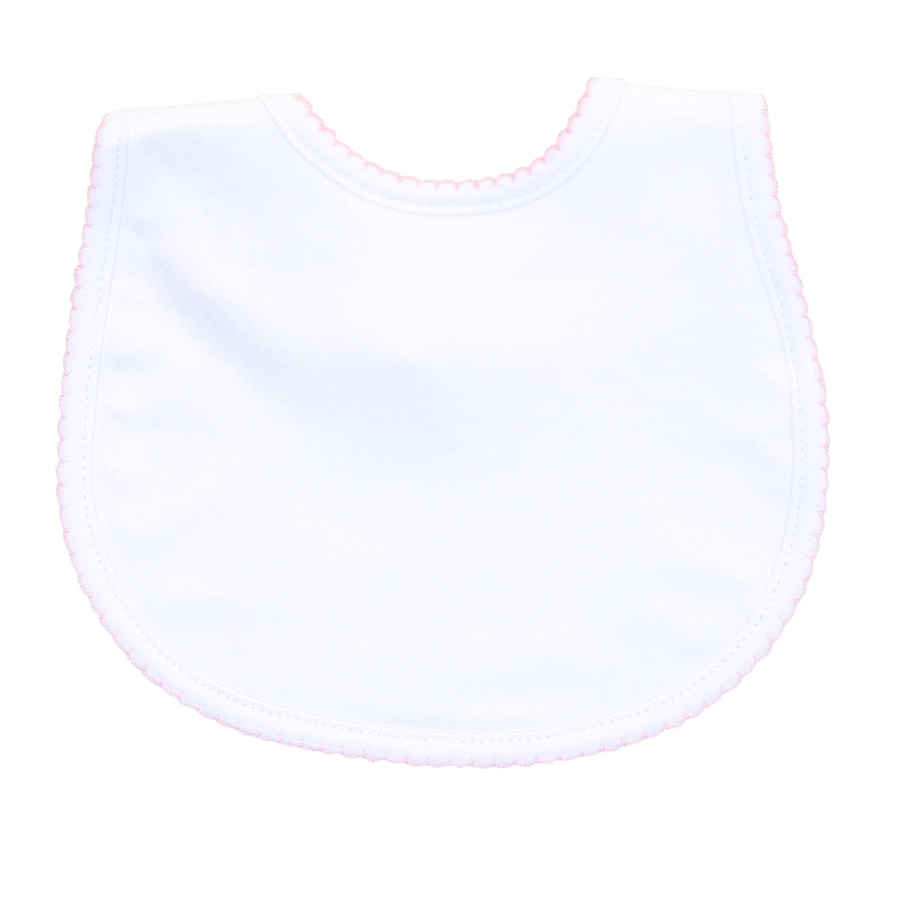 Magnolia Baby Essentials White with Pink Trim Bib - Personalization Available