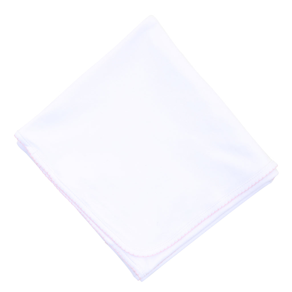Magnolia Baby Essentials White with Pink Trim Blanket - Personalization Available