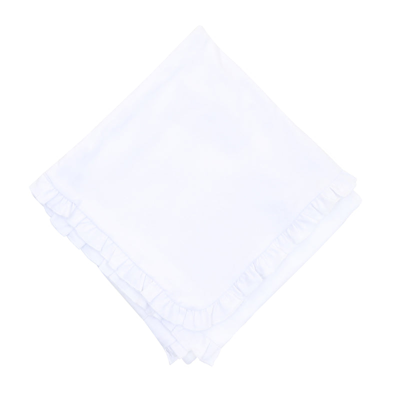 Magnolia Baby Essentials White Ruffle Blanket - Personalization Available