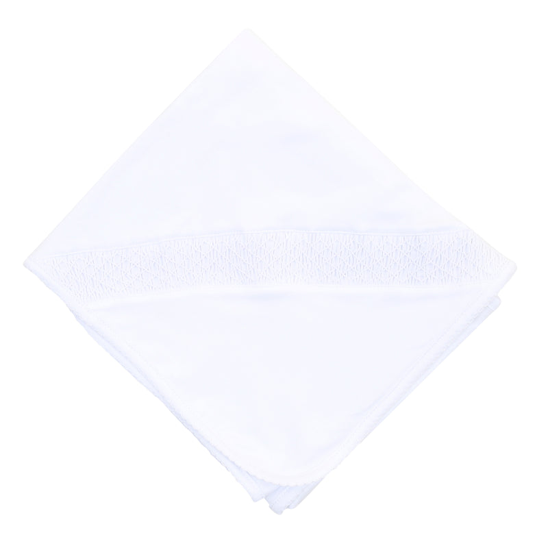 Magnolia Baby Essentials White Smocked Blanket