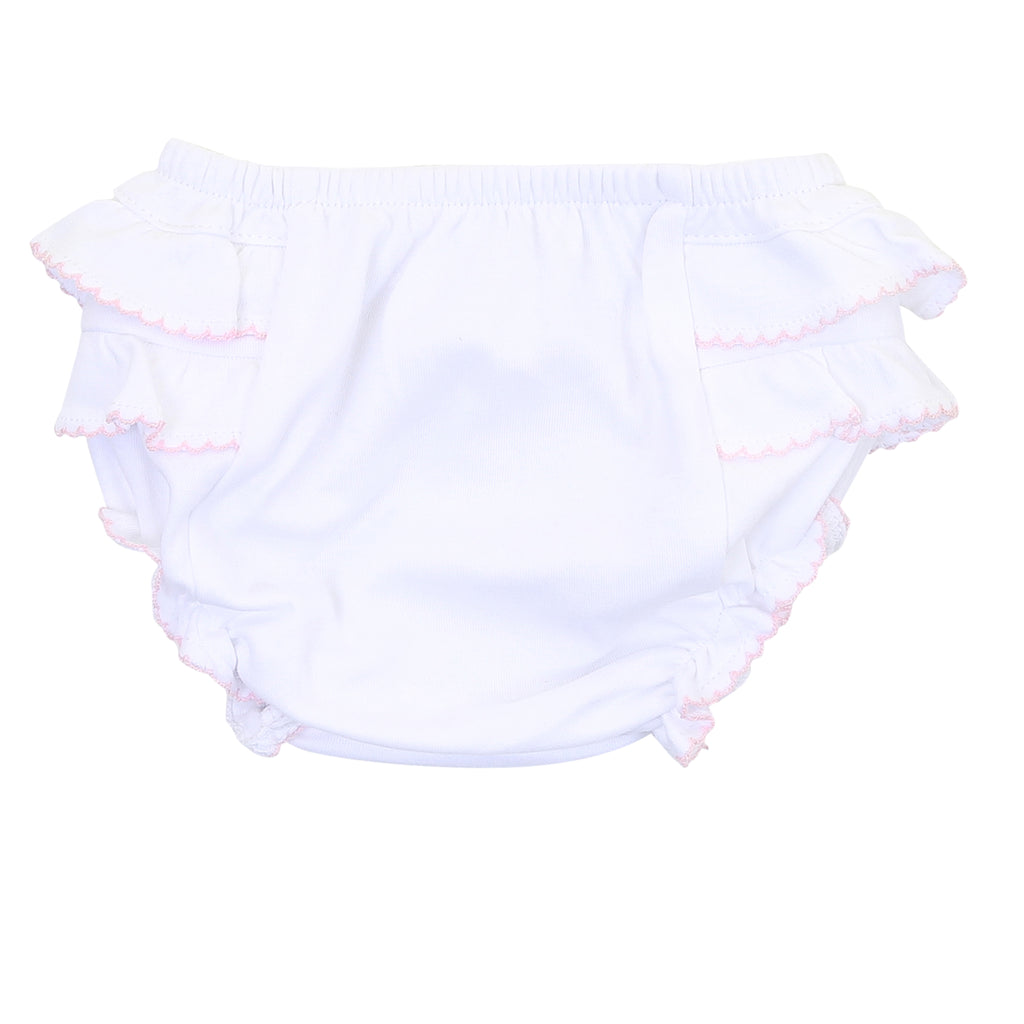 Magnolia Baby Essentials White with Pink Trim Ruffled Diaper Cover