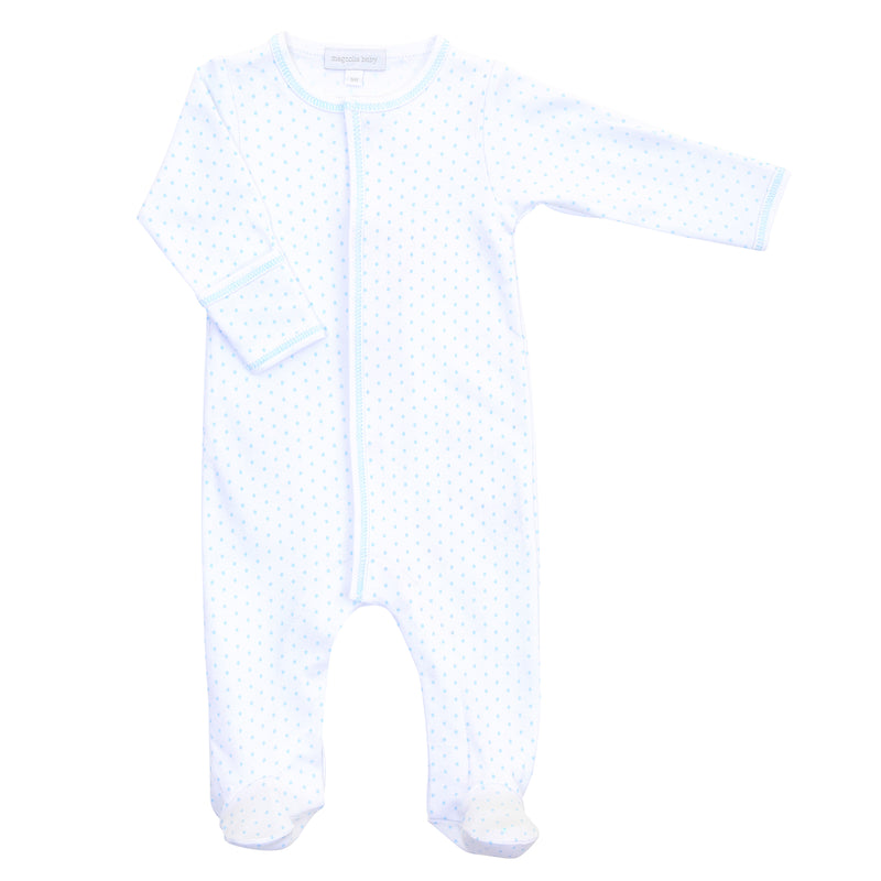 Magnolia Baby Essentials Blue Mini Dots Footie - Personalization Available