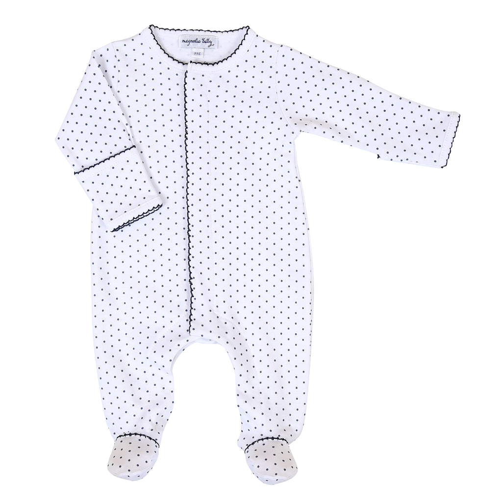 Magnolia Baby Essentials Navy Blue Mini Dots Footie - Personalization Available