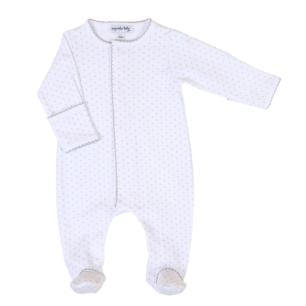 Magnolia Baby Essentials Grey Mini Dots Footie - Personalization Available