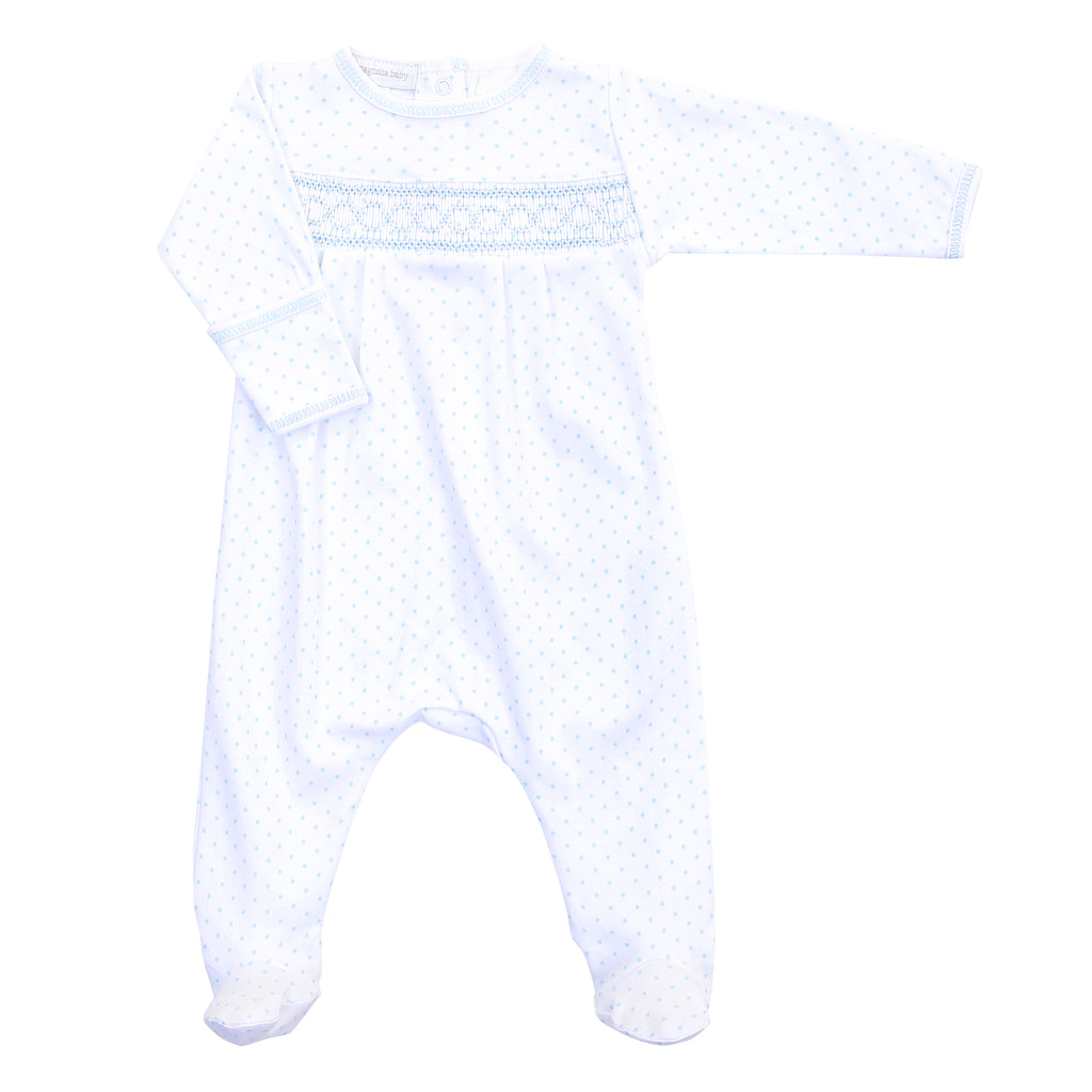 Magnolia Baby Essentials Blue Mini Dots Smocked Footie