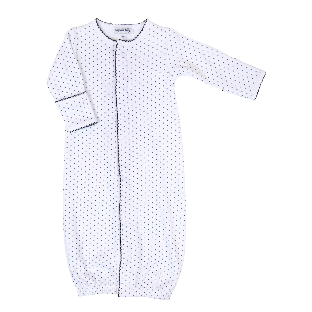 Magnolia Baby Essentials Navy Blue Mini Dots Converter Gown - Personalization Available