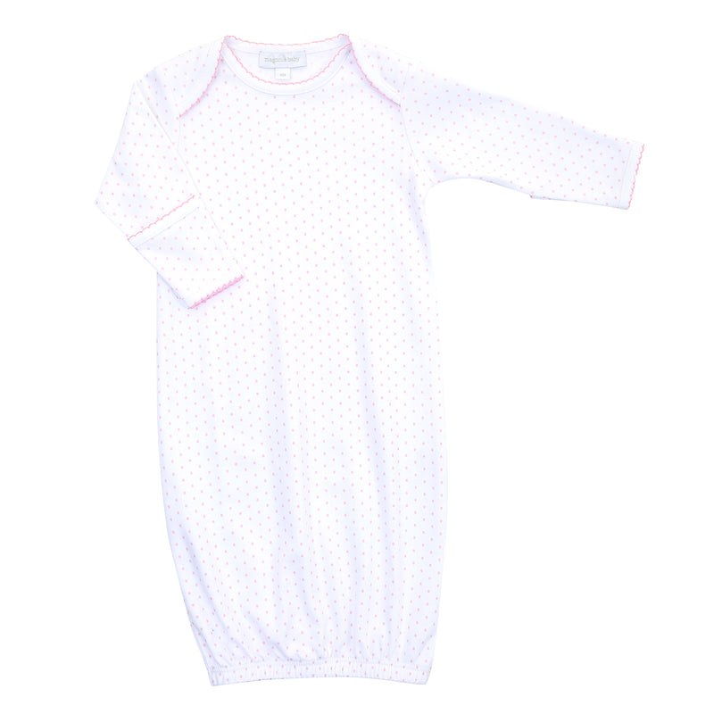 Magnolia Baby Essentials Pink Mini Dots Lap Shoulder Gown - Personalization Available