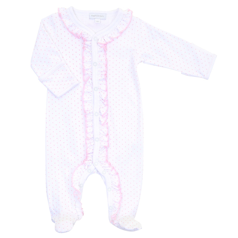 Magnolia Baby Essentials Pink Mini Dots Ruffle Footie - Personalization Available