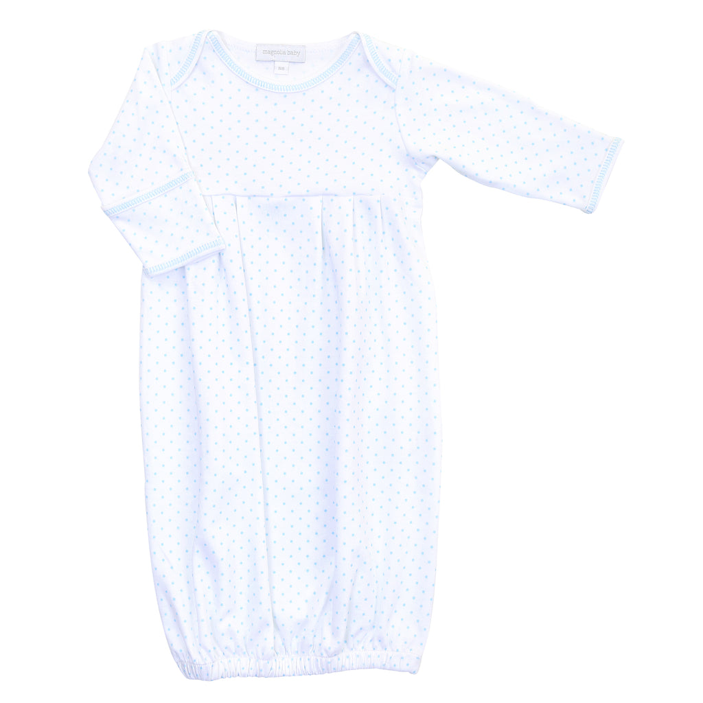 Magnolia Baby Essentials Blue Mini Dots Gathered Gown - Personalization Available