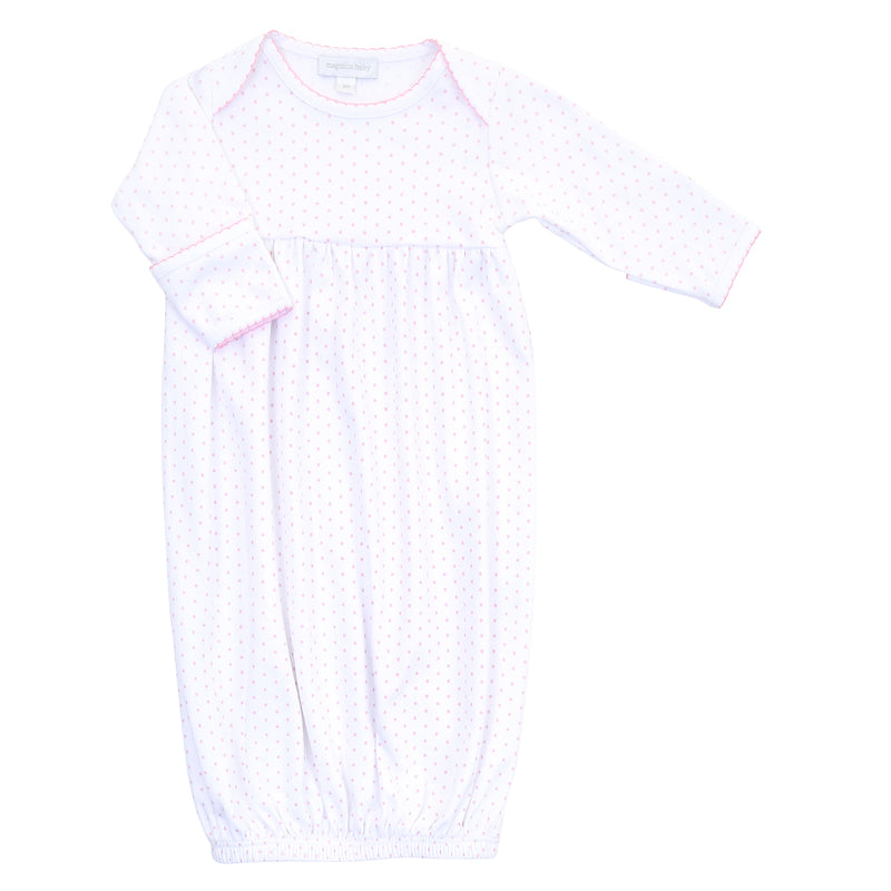 Magnolia Baby Essentials Pink Mini Dots Gathered Gown - Personalization Available