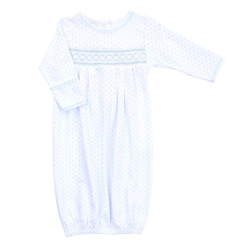 Magnolia Baby Essentials Blue Mini Dots Smocked Gown - Monogram Available