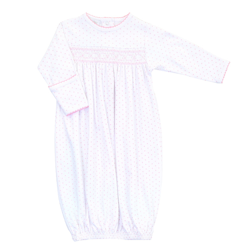 Magnolia Baby Essentials Pink Mini Dots Smocked Gown - Monogram Available